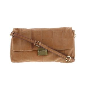 J.Crew vintage leather bag baguette brown textured
